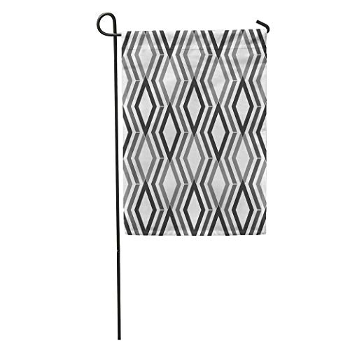 (zhurunshangmaoGYS Garden Flag Overlapping Grey Figures on Ethnic Pattern Rhombuses and Lines Diamonds Home Yard House Decor Barnner Outdoor Stand 12x18 Inches Flag)