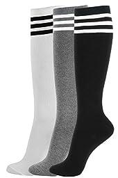 Girl Knee High Socks Soft Cotton Colorful Pattern Design For Women Summer or Winter (I-Triple Stripe-3pair)