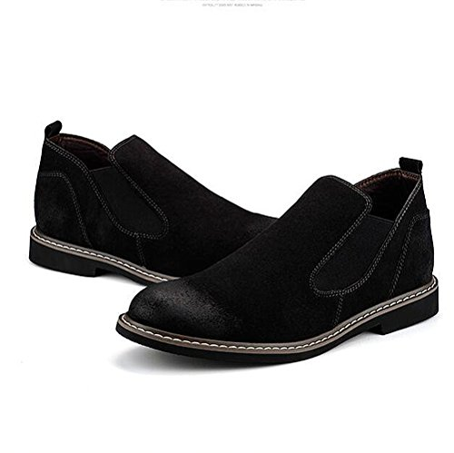 Mens leather casual shoes kleid herbst stiefel hochzeit mode] rutschen schwarzbraun-schwarz Fußlänge=43EU