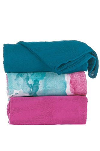 Throw Bamboo Woven (Tula Baby Blanket Set, 3 Pack of 47x47 Inches, 100% Viscose from Bamboo Unisex Swaddle Blankets – Watercolor (Multi-colored, Fuchsia, Teal))