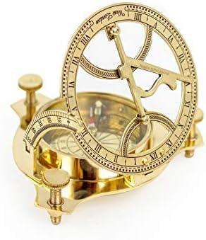 Nagina International 4 Sundial Compass Solid Brass Polished Calibrated Sun Clock Pocket Nautical Marine Gift Sports Outdoor Adventure