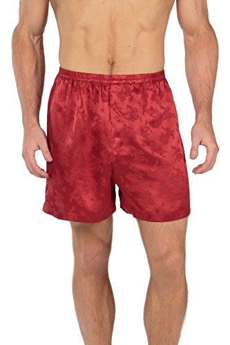 TexereSilk Men's 100% Silk Boxer Shorts - Luxury Underwear (Executive Lounge, Castle Red, Small) Top Valentines Gifts for Husband Boyfriend MS6103-CRD-S