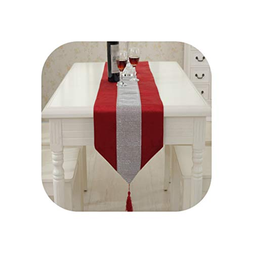 - Modern Table Runner Flannel Diamond Marriage Tassel Patchwork Christmas Wedding Banquet Party Event Decoration Home Textile,32x210cm,Red