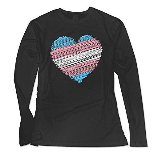 - YLCXIUWJWYZ5 Women's Transgender Flag Heart Basic Round Neck Tee with Long Sleeves