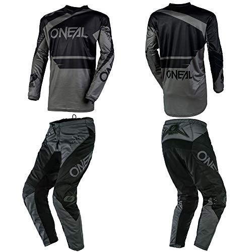 O'Neal Element Racewear Black/Gray Villain White Kids/Youth motocross MX off-road dirt bike Jersey Pants combo riding gear set (Pants Youth 28 (27) / Jersey Adult Small) (Dirt Bike Jersey And Pants Youth)