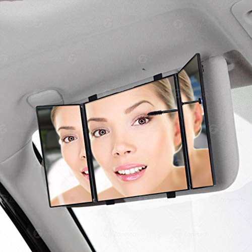 Car Folding Visor Vanity Mirror-Zone Tech Makeup Travel-Cosmetic Tri -Fold Universal Auto Mirror