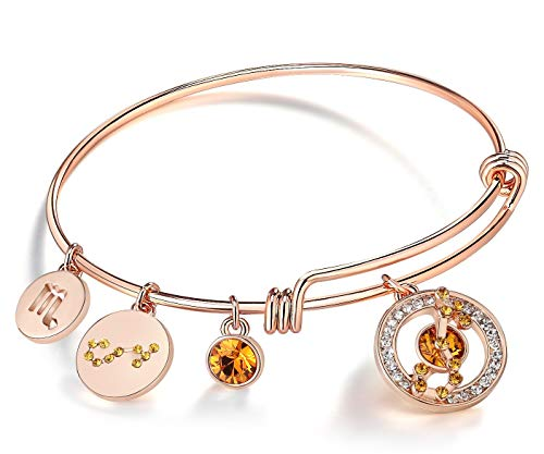 (Leafael Superstar Scorpio Zodiac Expandable Bangle Bracelet Made with Swarovski Crystals Horoscope Constellation October November Birthstone Topaz Brown Jewelry, Rose Gold Plated, 7