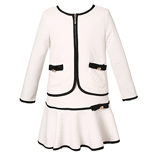 Girls White Blazer (Richie House Girls' Elegant Knit Suit with Skirt RH1963-A-7/8)