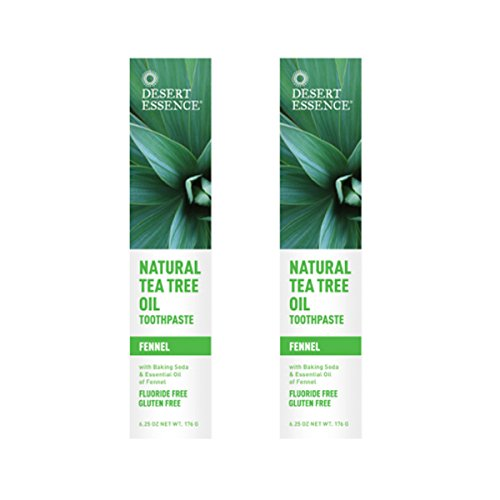 Desert Essence Natural Tea Tree Oil Fennel Toothpaste, 6.25 Ounce - 2 per -