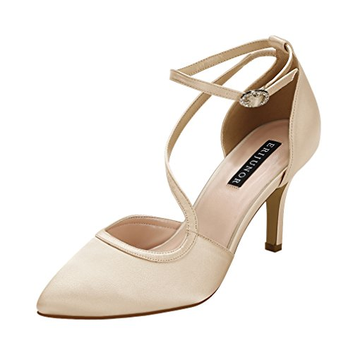 (ERIJUNOR E1706 Women Comfortable Mid Heel Ankle Strappy Dress Pumps Pointed Toe Satin Wedding Evening Party Shoes Champagne Size 6)
