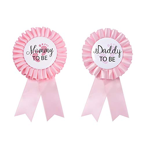 Daddy to be & Mom to be Tinplate Badge Pin - Baby Shower Button New Dad Gifts Gender Reveals Party Baby Girl Pink Rosette Button Baby Celebration (Light Pink) (Daddy To Be Corsage)