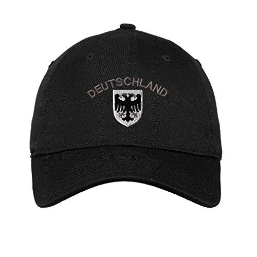 - Deutschland Black White German Eagle Sew Unisex Adult Flat Solid Buckle Cotton Unstructured Hat Low Profile Cap - Black, One Size
