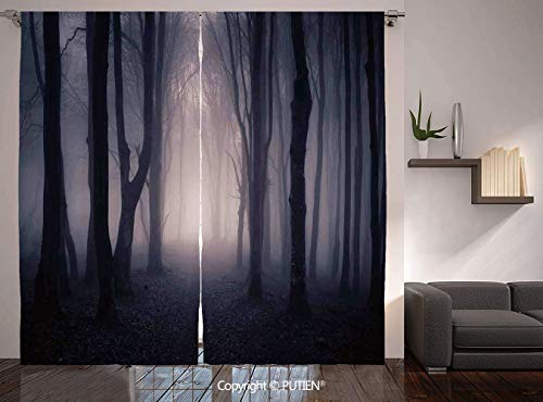 Thermal Insulated Blackout Window Curtain [ Farm House Decor,Path Through Dark Deep in Forest with Fog Halloween Creepy Twisted Branches Picture,Pink Brown ] for Living Room Bedroom Dorm Room Classroo