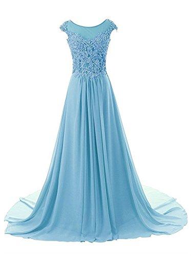 JAEDEN Mangas casquillo Gasa Vestidos de baile Largo Apliques Vestido de noche Vestido de la dama Azul