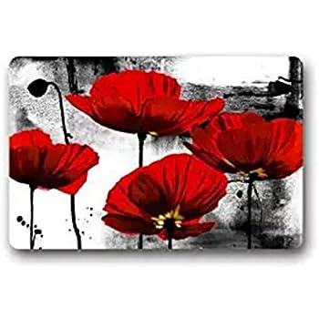 Amazon fantastic doormat beautiful red poppy flower art door fantastic doormat beautiful red poppy flower art door mat rug indooroutdoorfront door mightylinksfo