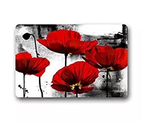 Fantastic Doormat Beautiful Red Poppy Flower Art Door Mat Rug Indoor/Outdoor/Front Door/Bathroom Mats£¬Bedroom Doormat 23.6