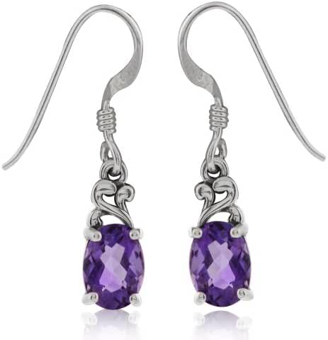 Natural African Amethyst 925 Sterling Silver Victorian Style Dangle Earrings