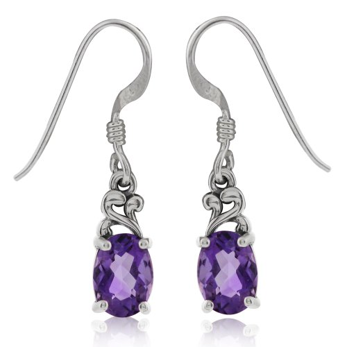 Petite Oval 7x5MM Natural African Amethyst 925 Sterling Silver Victorian Style Dangle Earrings (Victorian Style Amethyst Earrings)