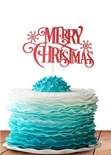 GrantParty Merry Christmas Cake Topper - Holiday Santa and Reindeer Cake Decorations - Happy New Year,Hello 2019 Sign(Red)