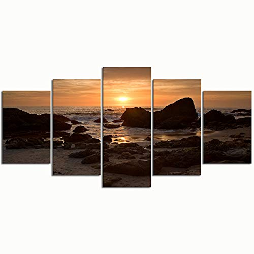 PENGTU Paintings Modern Canvas Painting Wall Art Pictures 5 Pieces, Woods Cove Laguna Beach,Wall Decor HD Printed Posters Frame (Home Laguna Decor Beach Stores)