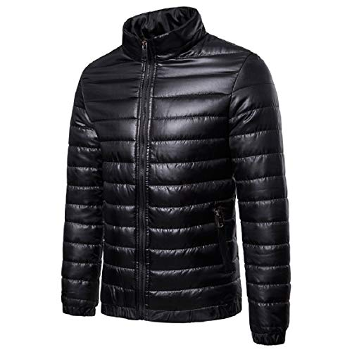 fit Cardi MogogoMen Winter Down Outwear Full Zip Parka Collar Standard Black Stand Y55Brq