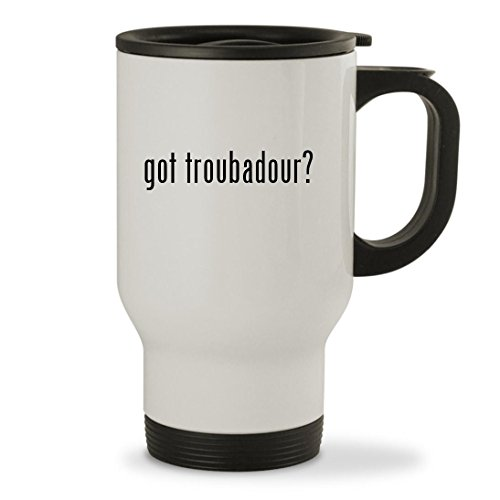 got troubadour? - 14oz Sturdy Stainless Steel Travel Mug, White