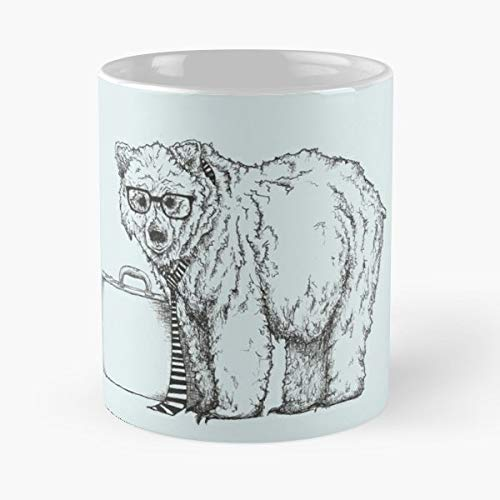 Grizzly Bear Business Tie - Coffee Mugs Unique Ceramic Novelty Cup