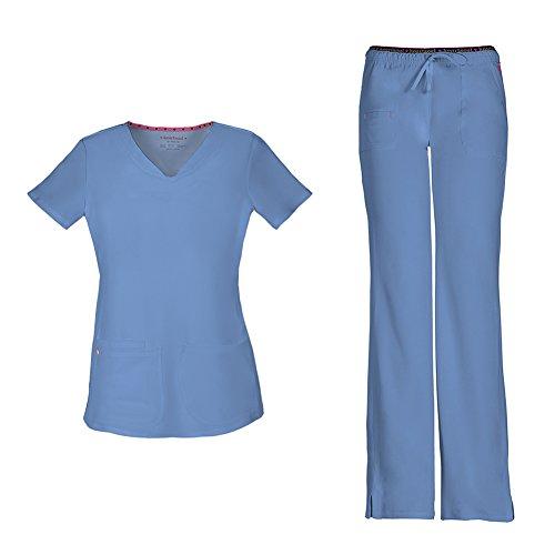 Flare Set - HeartSoul Women's Pitter-Pat Shaped V-Neck Scrub Top 20710 & Heartbreaker Heart Soul Drawstring Scrub Pants 20110 Medical Scrub Set (Ciel - X-Small/Small)
