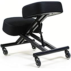 "Sleekform Kneeling Posture Chair | Ergonomic Office Desk Knee Stool Relieving Back & Neck Pain | with Rollerblade Wheels & Adjustable Height | Backless Meditation Seat | 4"" Mesh Cushions"
