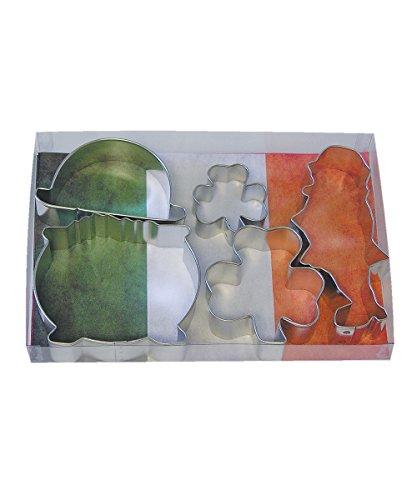 72 St. Patrick's Day Cookie Cutters, 2 Shamrocks, Leprechaun, Irish Derby Hat, Pot of Gold, 5-Piece Set ()