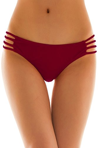 Side Thong Panty - SHEKINI Womens Sexy Solid Strappy String Bikini Panties Hipster Thong Swimwear Bottom (Medium/(US 8-10), Burgundy)