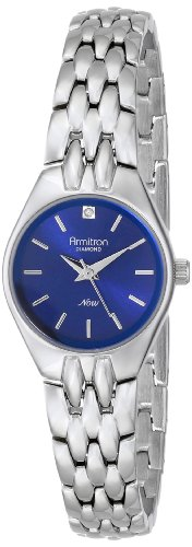 Armitron Women's 75/5197BLSV Diamond Accented Blue Dial Silver-Tone Bracelet Watch