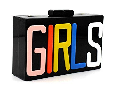 Shira Tori Mujeres Rectangular acrílico Lucite Girls niña bolso partei kupplungs Bolsos