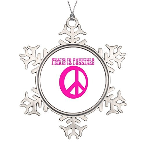 Metal Ornaments Peace Sign Hippy Personalised Christmas Tree Decoration Personalized Snowflake Ornaments -