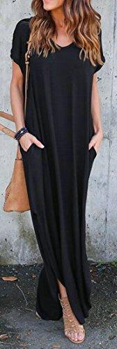 Manches Courtes Cromoncent Femmes Ourlet Incurvé Ras Du Cou Robes Longues Noires Occasionnels