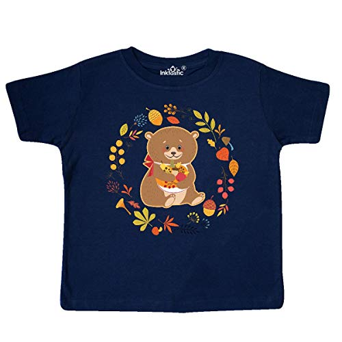 (inktastic - Thanksgiving Wreath Woodland Bear Toddler T-Shirt 3T Navy Blue 31def)