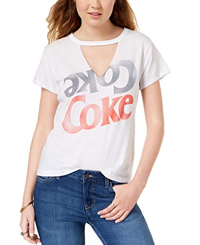 - Mighty Fine Juniors' Coke Graphic-Print Choker T-Shirt (White, XS)