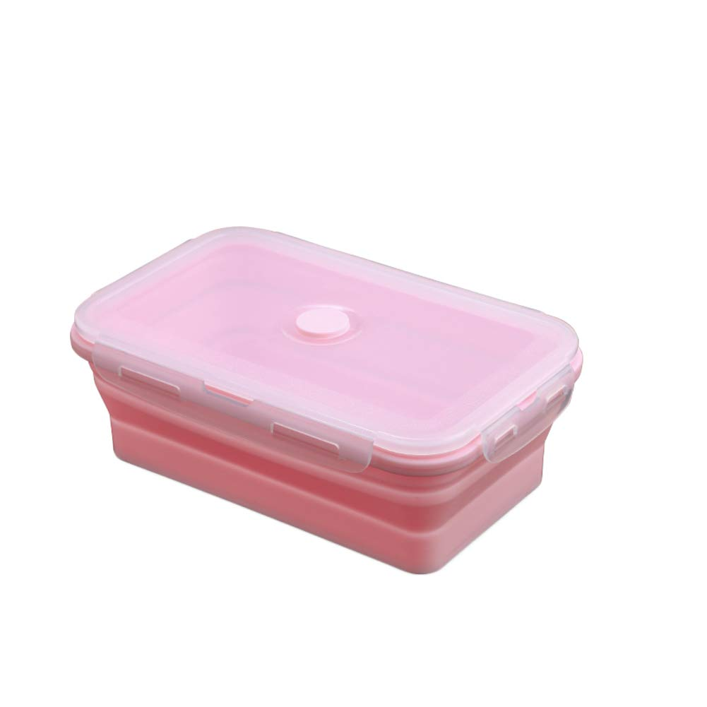 KnvcDey Silicone Collapsible Bowl,Camping Hiking Portable Travel Food Storage containers Lunch bento Box bpa Free Space-Saving-Pink 1200ml by KnvcDey