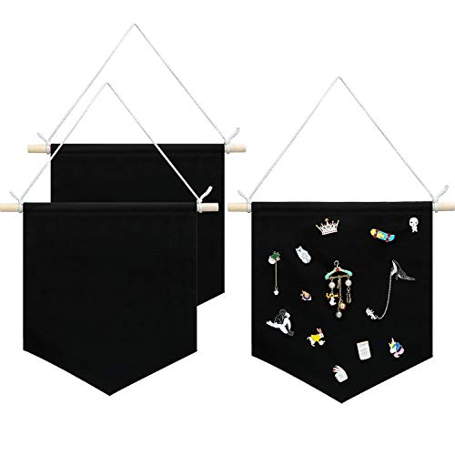 - 3 Packs Enamel Pin Wall Display Banner Blank Wall Canvas Banner for Display, Buttons and Label Collections (Black)