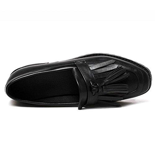 COOLCEPT Mujer Clasico Acento Irlandes Bombas Zapatos Formal Colegio Plano con Flecos Negro