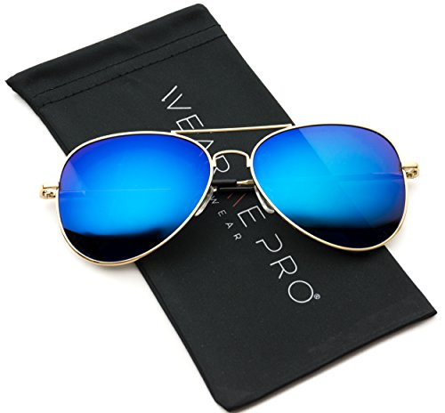 Premium Polarized Full Mirrored Aviator Sunglasses w/ Flash Mirror Lens (Flashing - Flash Blue