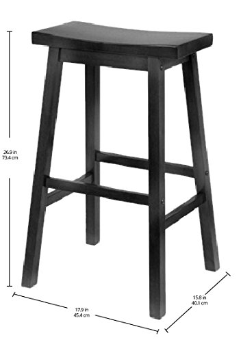 Winsome Wood 29-Inch Saddle Seat Bar Stool, Black - smallkitchenideas.us