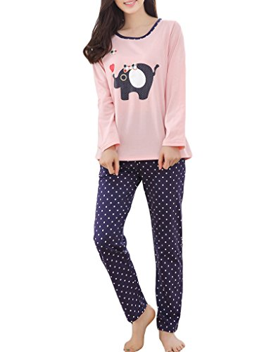 MyFav Big Girls Korean Fashion Pajama Set Lovely Elephant Sleepwear Pink Nighty