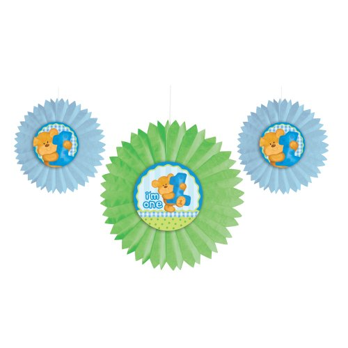 Creative Converting Party Decoration 3 Count Tissue Fan, Bears 1st Birthday, Blue