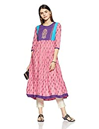 Light Pink Designer Cotton Kurti Anarkali Indian Ethnic Kurta Long Dress