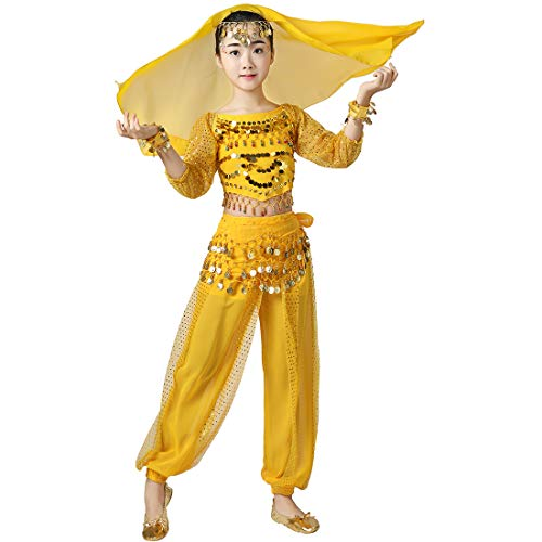 Belly Dancer Costume Outfit 6pcs Kit for Girls, Kids Arabian Princess Indian Dance Chiffon Clothes Suit (M, Purple) (L, Yellow) ()