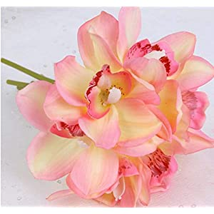 Grapy Artificial Flower Bouquet Bundle 6 Heads Latex Real Touch Cymbidium Orchid Fake Bridal Wedding Bouquet Flower Arrangement for Home Garden Party Wedding Decoration 62