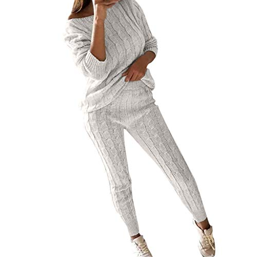 CUCUHAM Womens Ladies Solid Off Shoulder Cable Knitted Warm 2PC Loungewear Suit Set (White,XXX-Large)