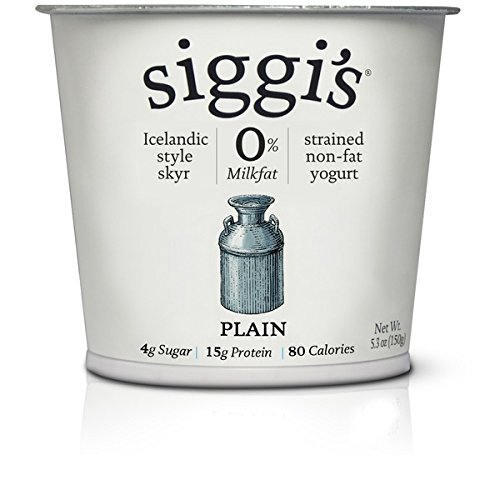 Siggis Strained Non-Fat Yogurt, Plain, 5.3 Ounce (Pack of 12)