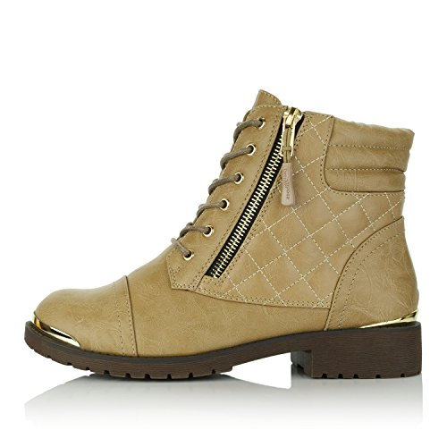 Credit Women's Exclusive Plate Military High DailyShoes Gold Card Beige Buckle Ankle Boots Up Combat Pocket FOdzxHd8wq
